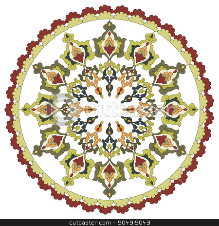 Antique ottoman turkish pattern vector design twenty eight stock vector clipart, colorful antique ottoman turkish design pattern vector by Sevgi Dal