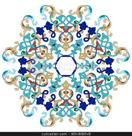 Antique ottoman turkish pattern vector design twenty one stock vector clipart, colorful antique ottoman turkish design pattern vector by Sevgi Dal