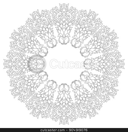 Antique ottoman turkish pattern vector design twenty stock vector clipart, linear antique ottoman turkish design pattern vector by Sevgi Dal
