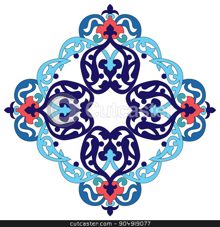 Antique ottoman turkish pattern vector design two stock vector clipart, colorful antique ottoman turkish design pattern vector by Sevgi Dal