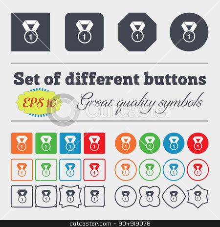 award medal icon sign. Big set of colorful, diverse, high-quality buttons. Vector stock vector clipart, award medal icon sign. Big set of colorful, diverse, high-quality buttons. Vector illustration by Serhii