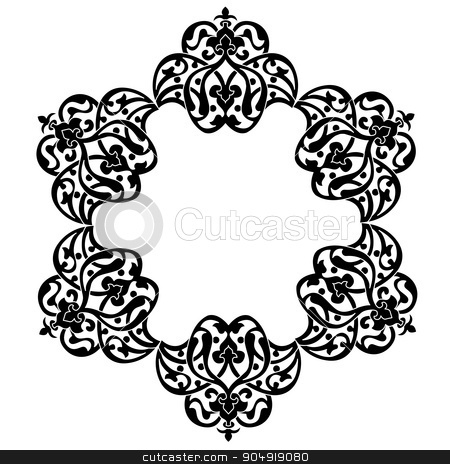 Antique ottoman turkish pattern vector design stock vector clipart, black and white antique Ottoman Turkish design pattern vector by Sevgi Dal