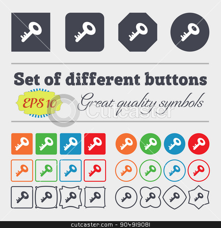 Key icon sign. Big set of colorful, diverse, high-quality buttons. Vector stock vector clipart, Key icon sign. Big set of colorful, diverse, high-quality buttons. Vector illustration by Serhii