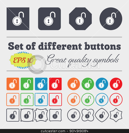 open lock icon sign. Big set of colorful, diverse, high-quality buttons. Vector stock vector clipart, open lock icon sign. Big set of colorful, diverse, high-quality buttons. Vector illustration by Serhii