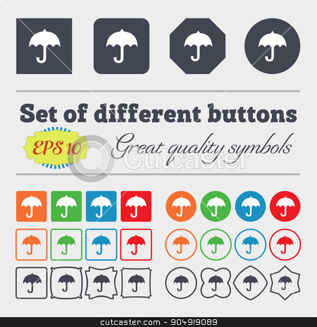 umbrella icon sign. Big set of colorful, diverse, high-quality buttons. Vector stock vector clipart, umbrella icon sign. Big set of colorful, diverse, high-quality buttons. Vector illustration by Serhii