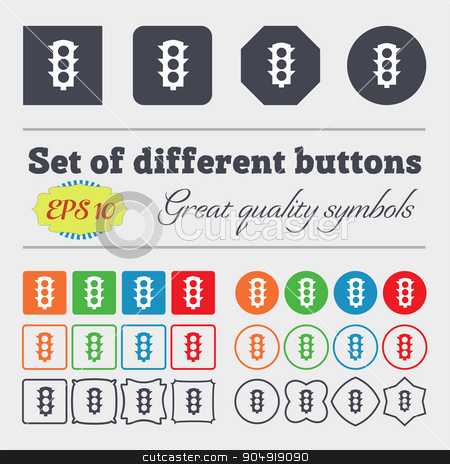 Traffic light signal icon sign. Big set of colorful, diverse, high-quality buttons. Vector stock vector clipart, Traffic light signal icon sign. Big set of colorful, diverse, high-quality buttons. Vector illustration by Serhii