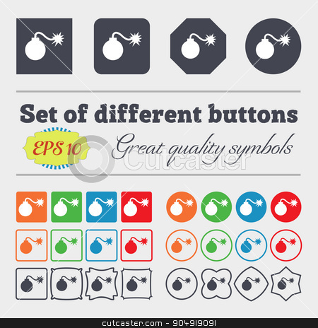 bomb icon sign. Big set of colorful, diverse, high-quality buttons. Vector stock vector clipart, bomb icon sign. Big set of colorful, diverse, high-quality buttons. Vector illustration by Serhii