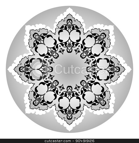 Antique ottoman turkish vector design eleven stock vector clipart, black and white antique Ottoman Turkish design pattern vector by Sevgi Dal