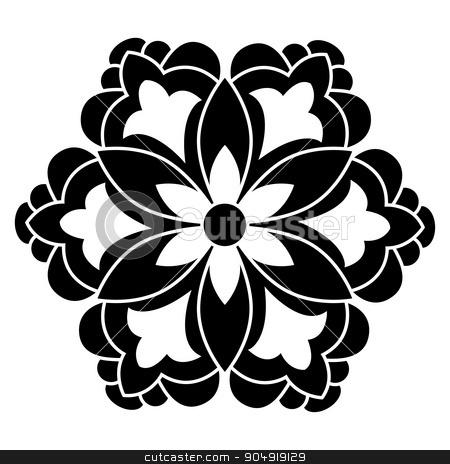 Antique ottoman turkish vector design five stock vector clipart, black and white antique Ottoman Turkish design motifs vector by Sevgi Dal