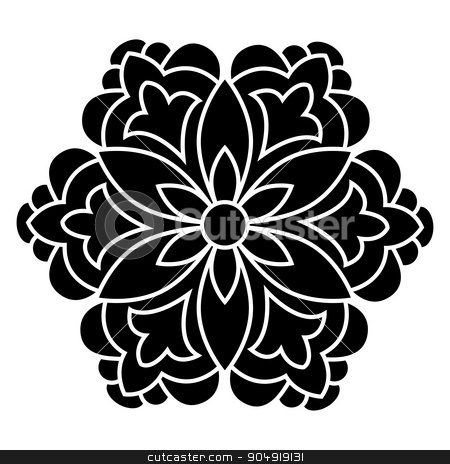 Antique ottoman turkish vector design four stock vector clipart, black and white antique Ottoman Turkish design motifs vector by Sevgi Dal