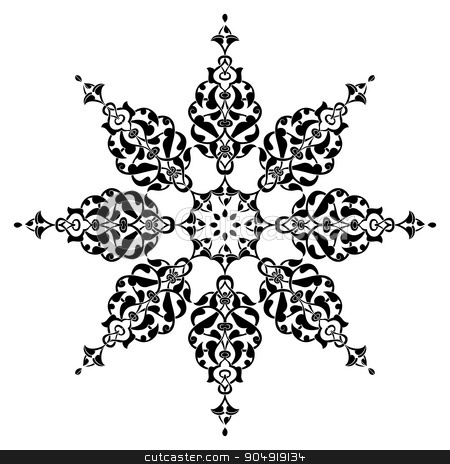 Antique ottoman turkish vector design nine stock vector clipart, black and white antique Ottoman Turkish design pattern vector by Sevgi Dal