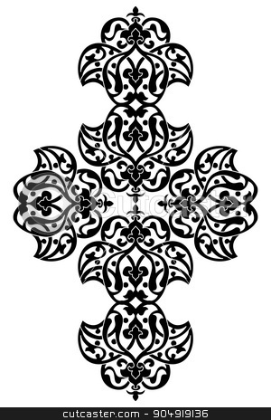 Antique ottoman turkish vector design one stock vector clipart, black and white antique Ottoman Turkish design pattern vector by Sevgi Dal