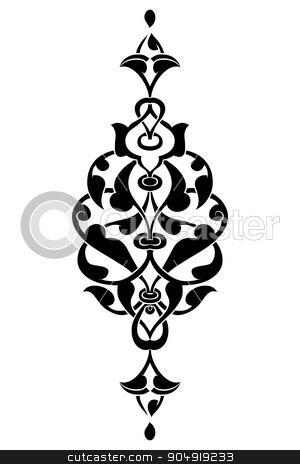 Antique ottoman turkish vector design seven stock vector clipart, black and white antique Ottoman Turkish design pattern vector by Sevgi Dal
