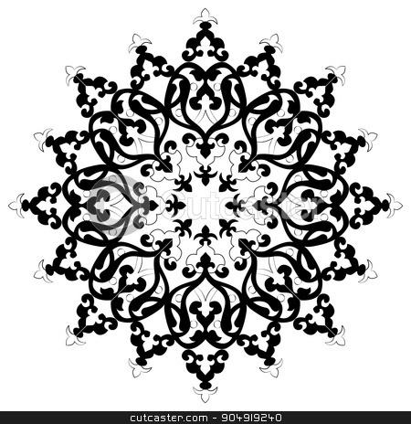 Antique ottoman turkish vector design three stock vector clipart, black and white antique Ottoman Turkish design pattern vector by Sevgi Dal