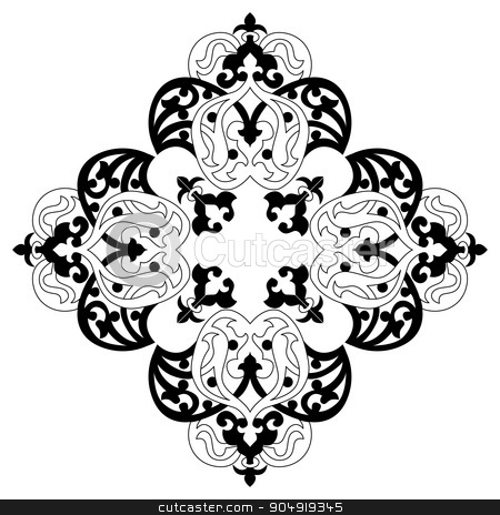Antique ottoman turkish vector design two stock vector clipart, black and white antique Ottoman Turkish design pattern vector by Sevgi Dal