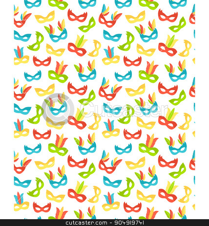 Seamless carnival masks pattern isolated on white stock vector clipart, Seamless carnival masks pattern isolated on white background by Makkuro_GL