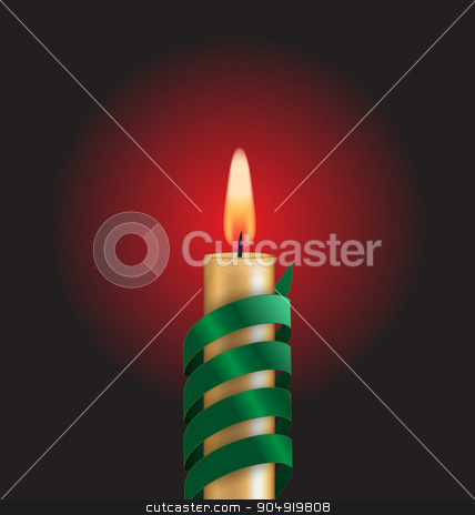 Candle with green spiral tape on red stock vector clipart, Candle with green spiral tape on dark background by Makkuro_GL