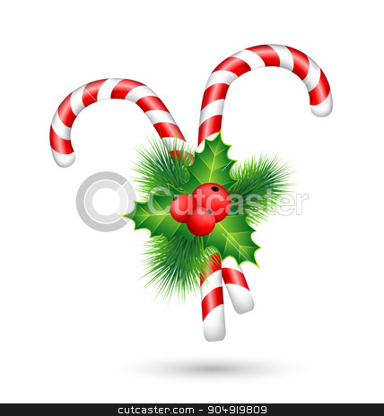candy canes with holly isolated on white  stock vector clipart, Two candy canes with holly sprig isolated on white background by Makkuro_GL