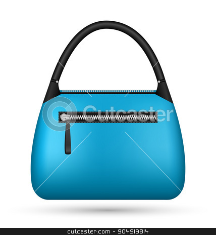 Blue woman bag isolated on white stock vector clipart, Blue woman bag isolated on white background by Makkuro_GL