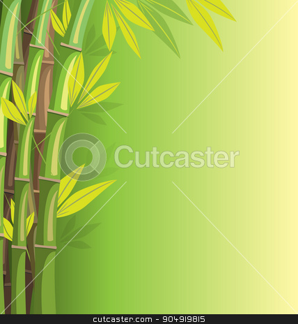 Green bamboo on green background stock vector clipart, Green bamboo on green background with shadows by Makkuro_GL