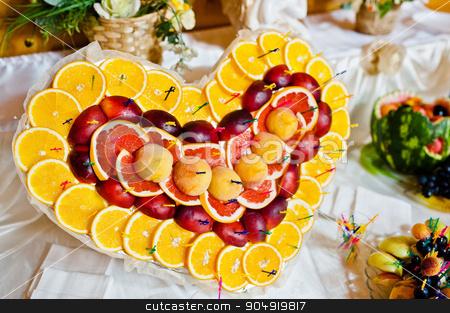 Wedding reception. Heart of fruits stock photo, Wedding reception. Heart of fruits by Andrii Shevchuk