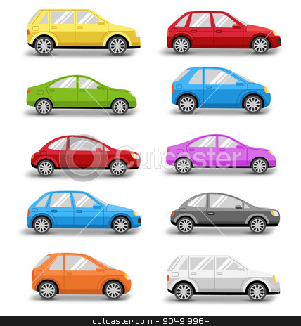 Multicolored Cars Collection with Shadow Isolated on White stock vector clipart, Multicolored Cars Collection with Shadow Isolated on White Background by Makkuro_GL