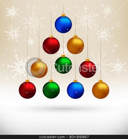Christmas balls hanging like fir tree on beige stock vector clipart, Ten multicolored Christmas balls hanging like fir tree on beige background with snowflakes by Makkuro_GL