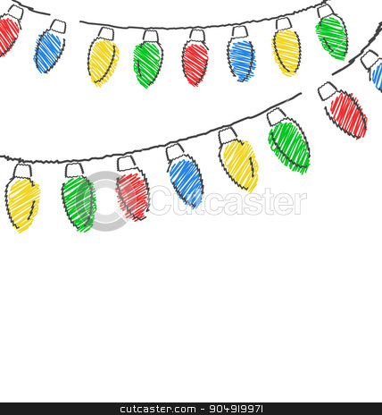 hand drawn Christmas lights isolated on white  stock vector clipart, Multicolored flat hand-drawn Christmas lights isolated on white background by Makkuro_GL