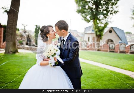 Married couple having fun on green lawn  stock photo, Married couple having fun on green lawn  by Andrii Shevchuk