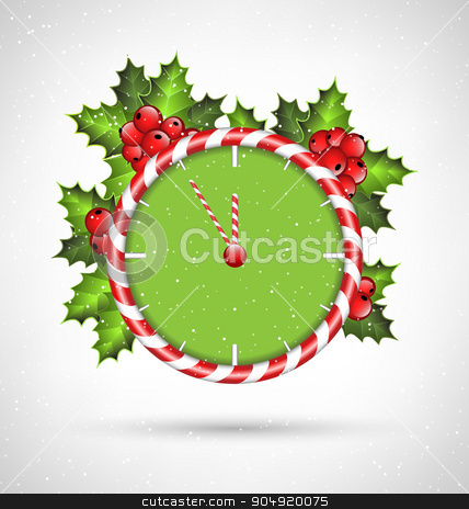 Candy cane clock with holly  stock vector clipart, Candy cane clock with holly sprigs in snowfall on grayscale background by Makkuro_GL