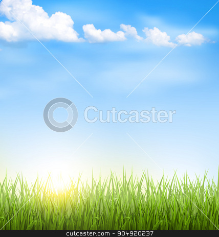 Grass lawn with clouds and sun on blue sky stock vector clipart, Green grass lawn with clouds and sun on blue sky by Makkuro_GL