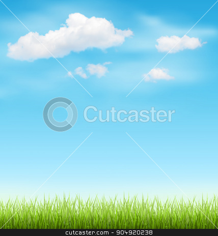 Green Grass Lawn with Clouds on Blue Sky stock vector clipart, Green Grass Lawn with Clouds on Light Blue Sky by Makkuro_GL