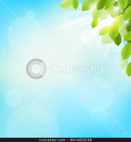 Tree foliage with sunlight on sky. Floral nature spring  stock vector clipart, Tree foliage with sunlight on sky. Floral nature spring background by Makkuro_GL