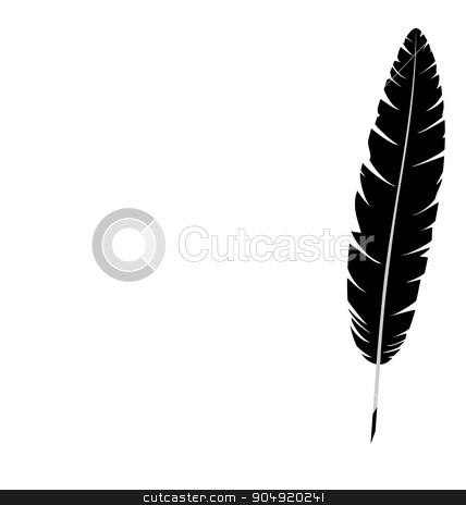 feather isolated on white  stock vector clipart, Black single feather isolated on white background by Makkuro_GL