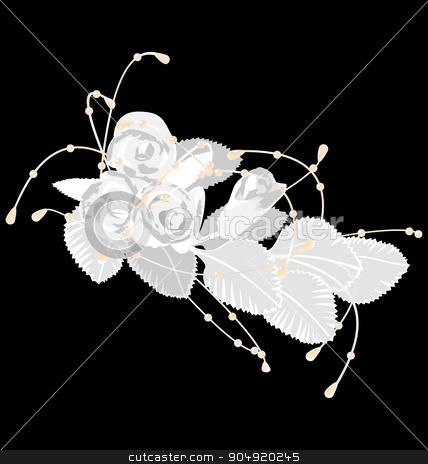 White roses isolated on black stock vector clipart, White roses isolated on black background by Makkuro_GL