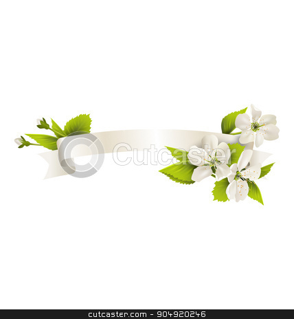 Festive satin ribbon garland flag with cherry flowers isolated o stock vector clipart, Festive satin ribbon garland flag with cherry flowers isolated on white background by Makkuro_GL