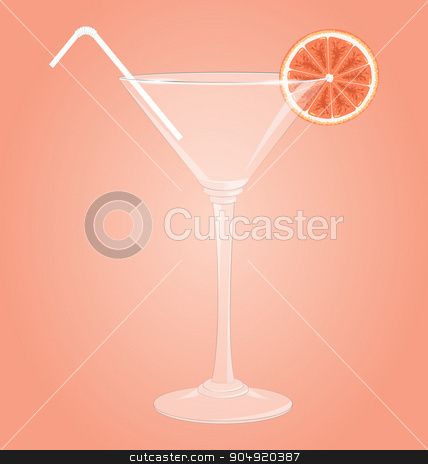 Empty glass for martini with grapefruit and plastic tube on pink stock vector clipart, Empty glass for martini with grapefruit and plastic tube on pink background by Makkuro_GL