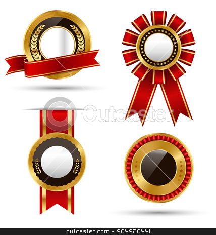 Golden Red Black Premium Quality Best Labels Collection Isolated stock vector clipart, Golden Red Black Premium Quality Best Labels Collection Isolated on White Background by Makkuro_GL