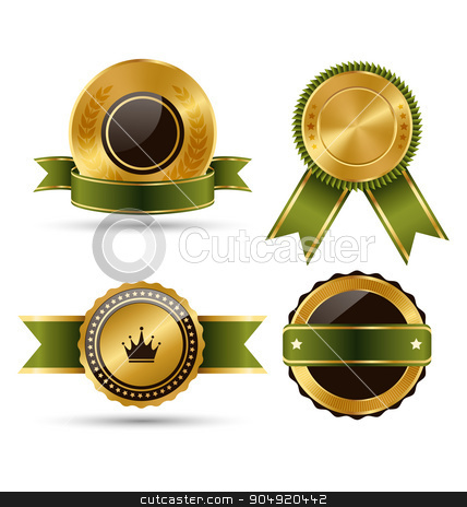 Golden Green Black Premium Quality Best Labels Collection Isolat stock vector clipart, Golden Green Black Premium Quality Best Labels Collection Isolated on White Background by Makkuro_GL