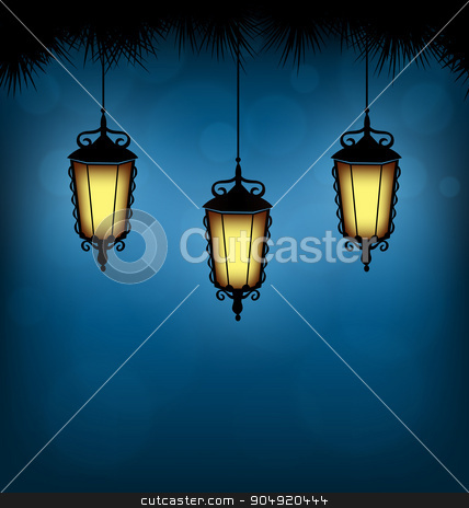 lanterns with pine on blue  stock vector clipart, Three illuminated lanterns with pine branches on blue background by Makkuro_GL