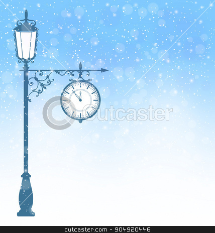 Vintage lamppost with clock in snowfall on blue stock vector clipart, Vintage winter lamppost with clock in snowfall on blue background by Makkuro_GL