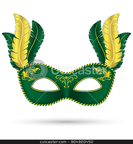 Green mask with feathers stock vector clipart, Green mask with feathers isolated on white background by Makkuro_GL