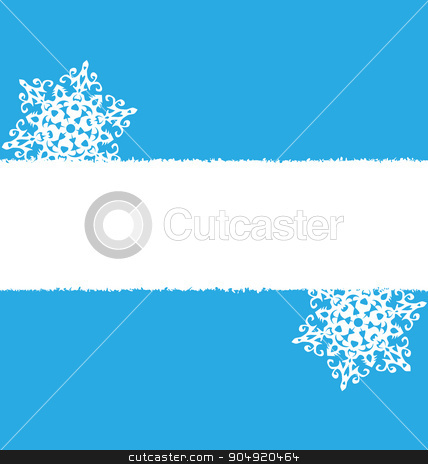 White snowflakes on blue stock vector clipart, White snowflakes with empty place on blue by Makkuro_GL