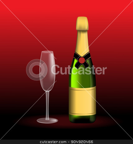 Bottle of sparkling wine and empty glass stock vector clipart, Green bottle of sparkling wine and empty glass on red by Makkuro_GL