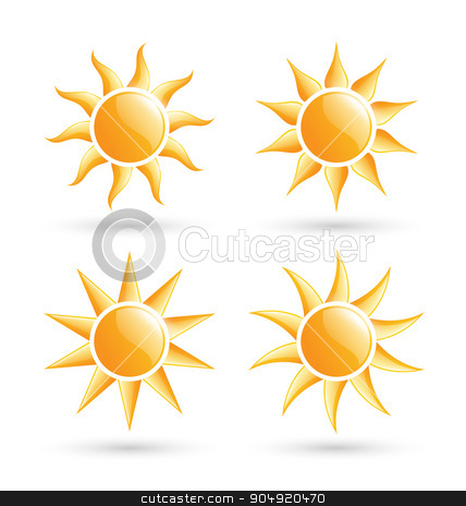 Three suns icons with shadow isolated on white  stock vector clipart, Three suns icons with shadow isolated on white background by Makkuro_GL