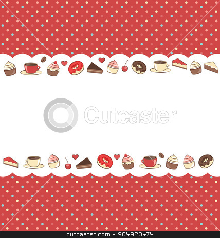 Sweets frame on red in dots stock vector clipart, Sweets frame on red background in dots by Makkuro_GL