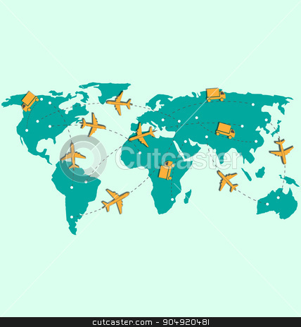 World map with air planes and trucks isolated on blue  stock vector clipart, World map with air planes and trucks isolated on blue background by Makkuro_GL