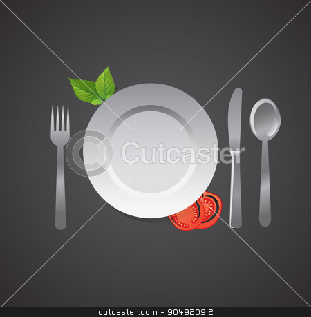 Blank Plate and accessories on black gackground stock vector clipart, Blank Plate and accessories on black background by Khanong Wiboolkul