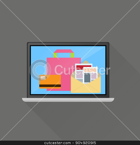Ecommerce on line business concept stock vector clipart, Ecommerce on line business concept by Khanong Wiboolkul