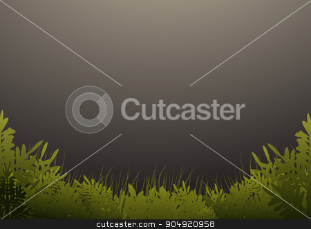 Grass and trees on dark green background stock vector clipart, Grass and trees on dark green background by Khanong Wiboolkul